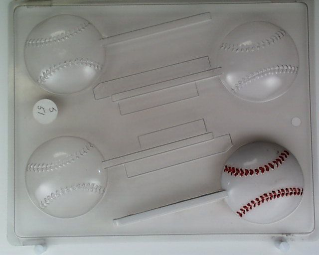 The mold is constructed of food grade plastic 24 ml thick. The design on this mold is that of a MEDIUM SIZE BASEBALL. This mold makes 4 lollipops. The picture of the mold that is displayed has been painted to show the details. | eBay!