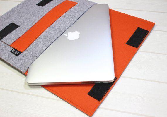 12 laptop sleeve, 11 inch laptop case, iPad Pro 11, laptop pouch, orange laptop case, felt laptop sl
