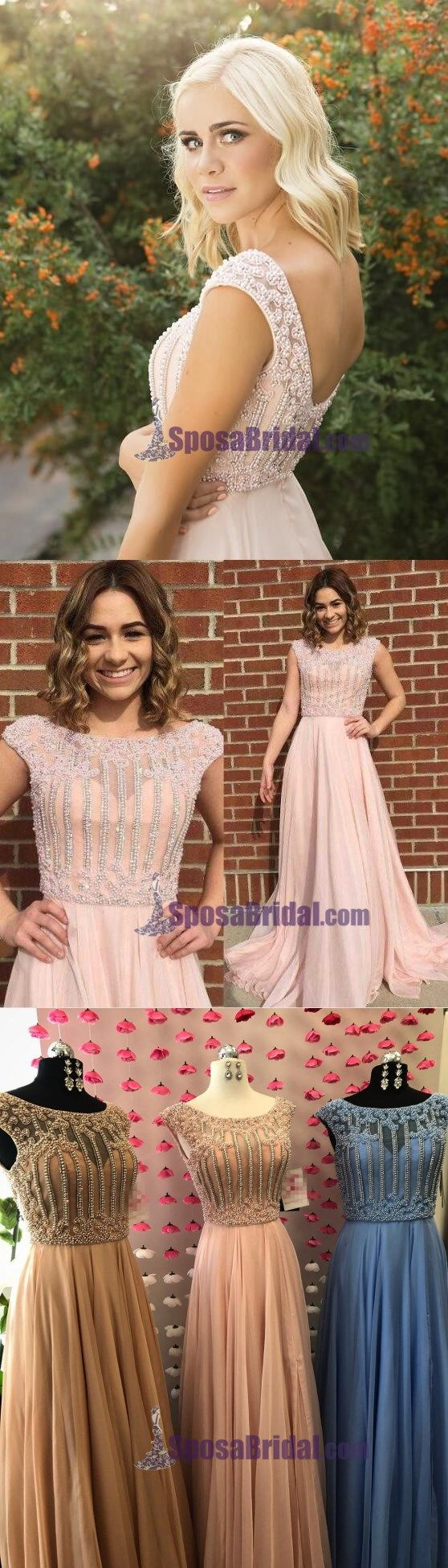 Beaded Small Cap Sleeves Chiffon A-Line High Quality Real Mace Modest Prom Dresses, PD0630
