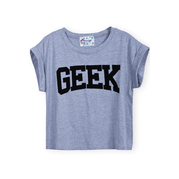 SheIn(sheinside) Grey Short Sleeve GEEK Print Crop T-Shirt ($9.99) ❤ liked on Polyvore featuring tops, t-shirts, shirts, grey, short sleeve tee, print shirts, cotton shirts, grey shirt and t shirts