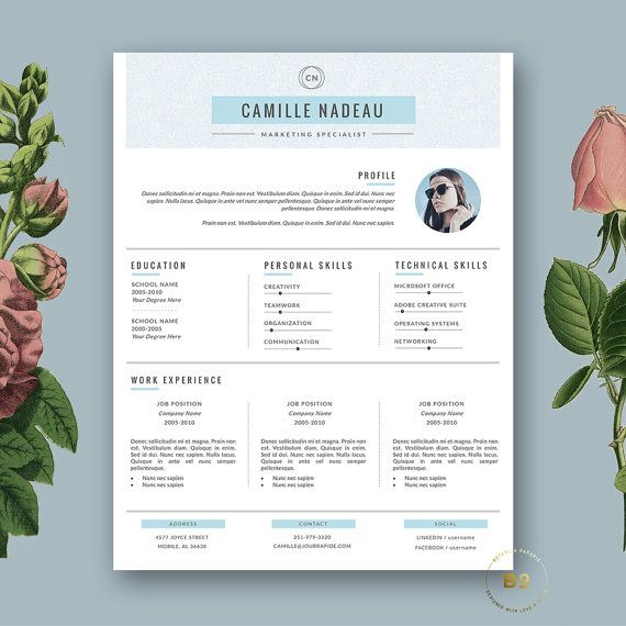Professional Resume Template | 3-page CV + FREE Cover Letter for MS Word & iWork Pages | Instant Digital Download ★ BotanicaPaperieShop