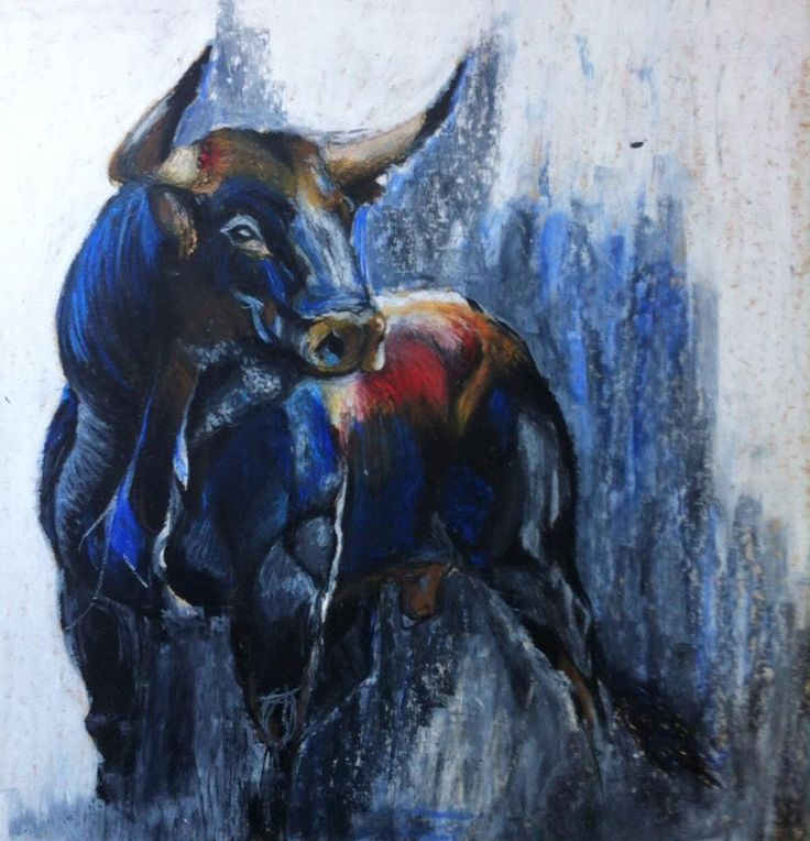 """TAURUS"", A2 made with oil pastels by Rita Marques Guedes"