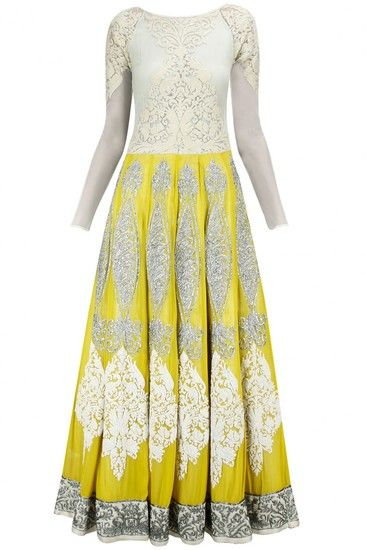 Yellow and ivory embroidered anarkali set at Pernia's Pop-Up Shop.