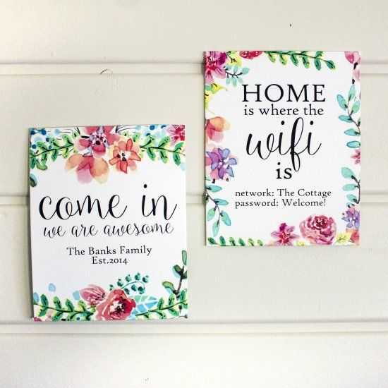 Download these free watercolor graphics and add your own WiFi info and family name to create custom wall art just for you!