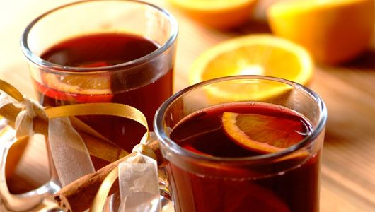 GERMAN GLUHWEIN: 1/2 liter red wine 1/4 liter water 1 stick cinnamon 3 whole cloves 1/4 c. sugar Boil water and seasonings for 5 minutes. Add red wine and sugar. Heat until hot; do not boil. Remove seasonings and serve hot in glass over a slice of lemon. Serves 4. Great on a cool October evening.