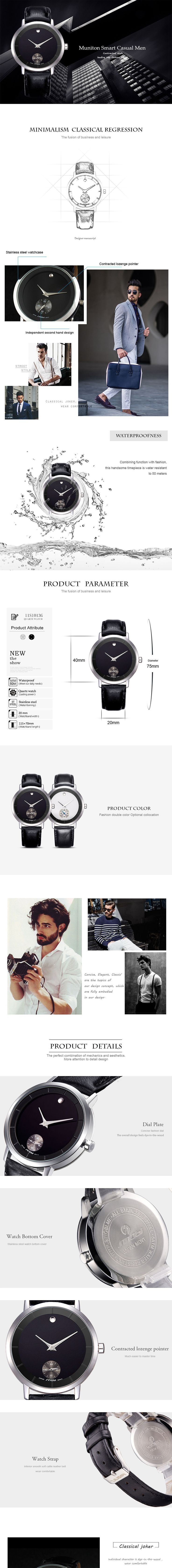 SINOBI 9729 Waterproof Casual Leather Men Quartz Watch