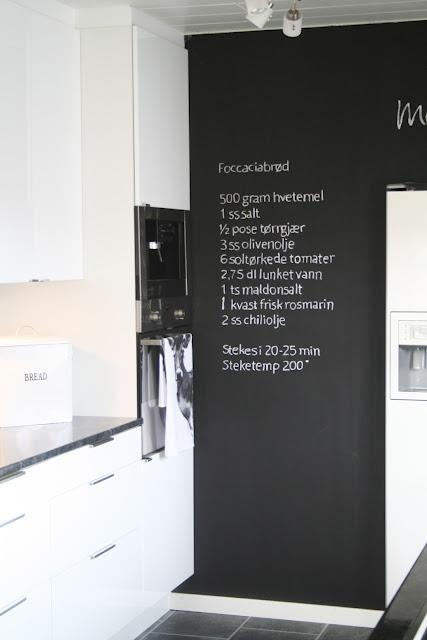 chalkboard wall in kitchen...would be such a good ideas to put what groceries are needed, meal plans for the week...chore lists.