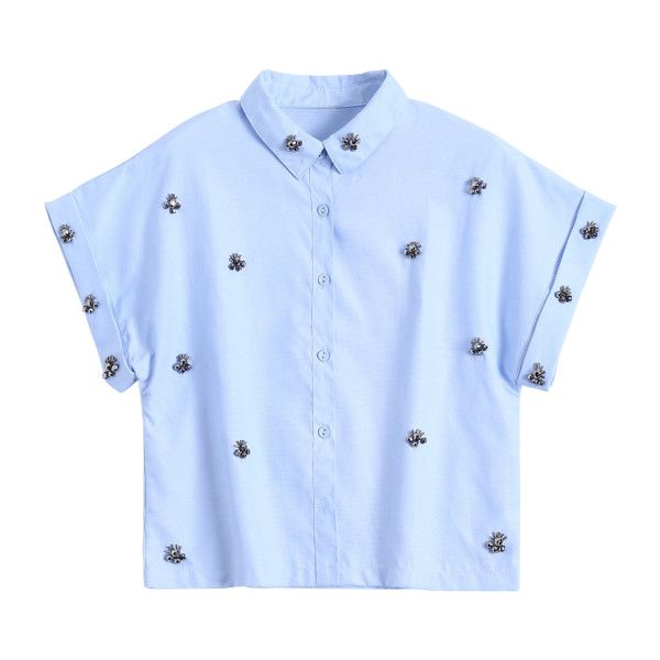 Metal Flower Embellished Button Up Shirt Blue (£17) ❤ liked on Polyvore featuring tops, button down top, button down shirts, blue button up shirt, button up top and embellished shirt