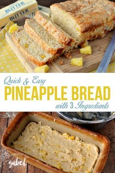 This pineapple bread is easy to make with only 3 ingredients and no yeast!  Use either fresh pineapple or canned pineapple to make a fun sweet treat.  via @camillegabel