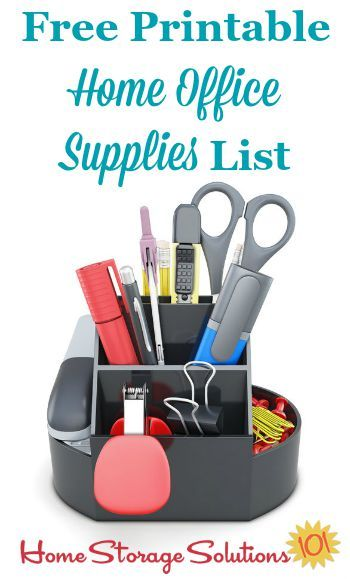 Free printable home office supplies list to make sure you've got everything you need at your fingertips for home paperwork and other general needs {on Home Storage Solutions 101}
