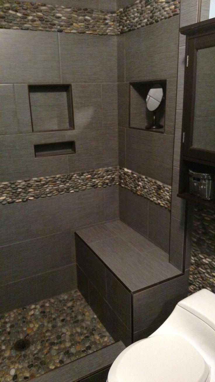 Simple White Pebble Tile Bathroom And Shower Floor  Pebble Tile Shop