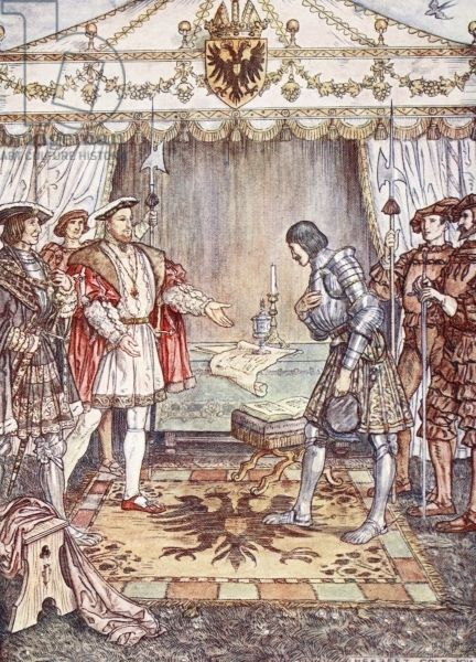 Pierre Terrail LeVieux, seigneur de Bayard (1473-1524), known as the Chevalier de Bayard; Bayard being presented to Henry VIII (1491-1547) after his defeat and subsequent capture. By Christopher Hare, pub. 1911 (colour litho), Cole, Herbert (1867-1930) / Private Collection / The Stapleton Collection / Bridgeman Images