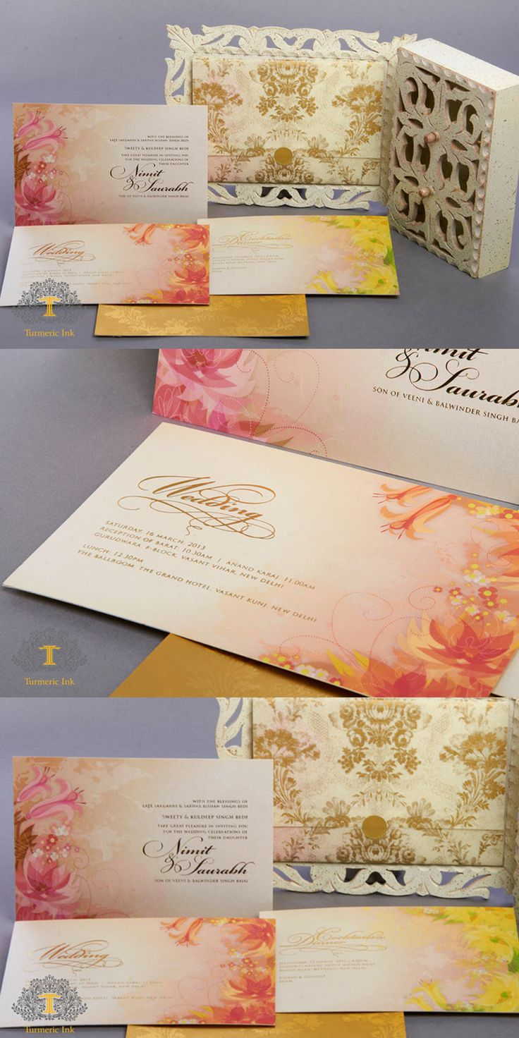 lotus flower wedding invitations%0A invite  invitations  Indian wedding invite  wedding card  bride  indian  bride