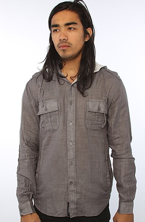 The Dylan L/S Buttondown Woven With Hood in Heather CharcoalGrey L XXL XL S M