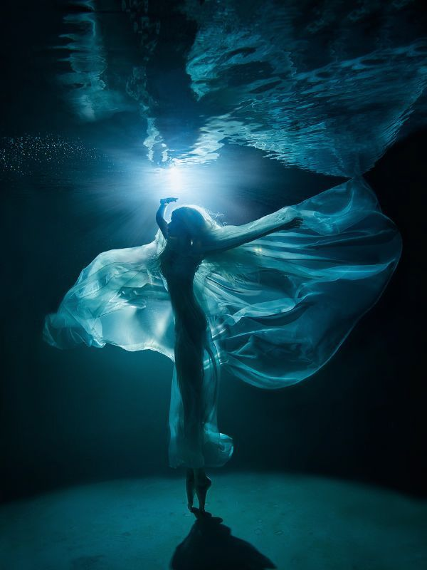 Moonlight Ballet  (night underwater photo shooting in s... by Lucie Drlikova