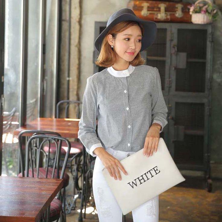 Aliexpress.com: Compre Mulheres camisas plus size 2015 nova coreia do outono moda casual mulheres blusas listradas manga comprida gola autumn camisa, Lb1153 de confiança camisas baratas fornecedores em May's Room