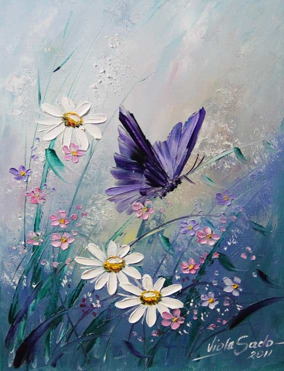 Beautiful purple butterfly and wildflowers painting. I must try to paint this! Viola Sado