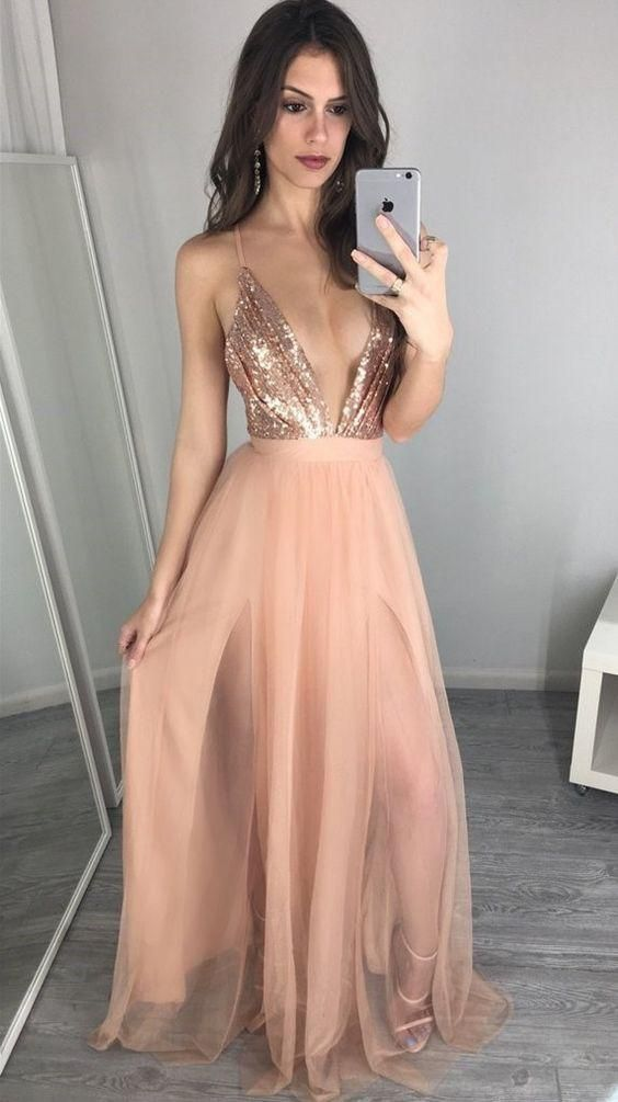 sexy prom dress, long prom dress, 2018 prom dress, sexy evening dress with slit, prom dresses,PD45423