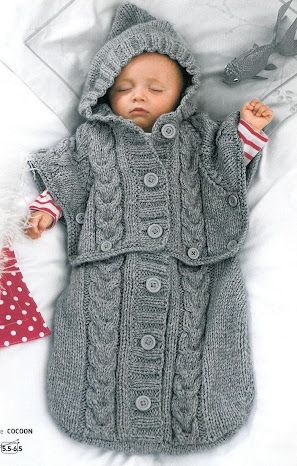 This is an inspiration photo of a knitted baby cocoon.  I really want to figure out a pattern for a crocheted version of this.