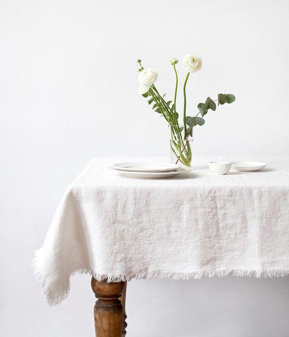 Pierre blanche lavée nappe en lin par LinenTales sur Etsy