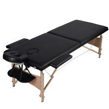 View Item Folded Portable Massage Table Facial Spa Bed Tattoo W Free Carry Case Black