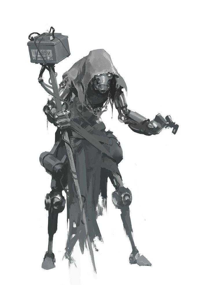 Rusty Robot Mage, Viktor Titov on ArtStation at https://www.artstation.com/artwork/m8YGY