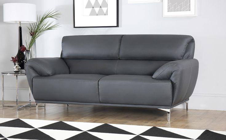 Enzo Grey Leather Sofa 3 Seater