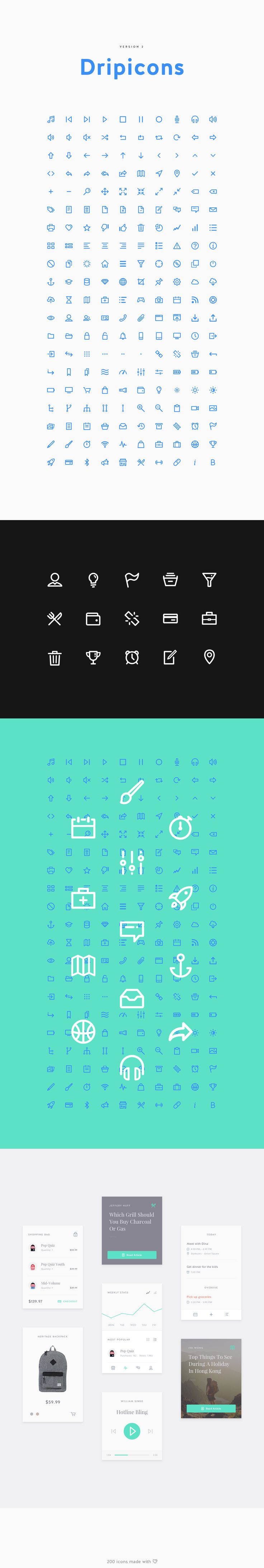 "The long awaited update to my first released iconset entitled ""Dripicons'. It is now version 2.0 which comes with a lot more icons to play with and overall refinement of all the current icons. I'm not an icon designer however, I made these icons with the …"