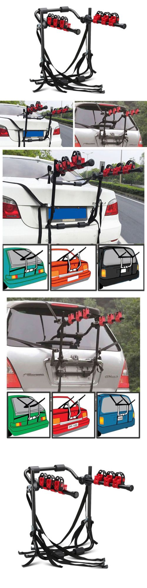 Car and truck racks 177849 3 bicycle trunk mount portable bike carrier rack