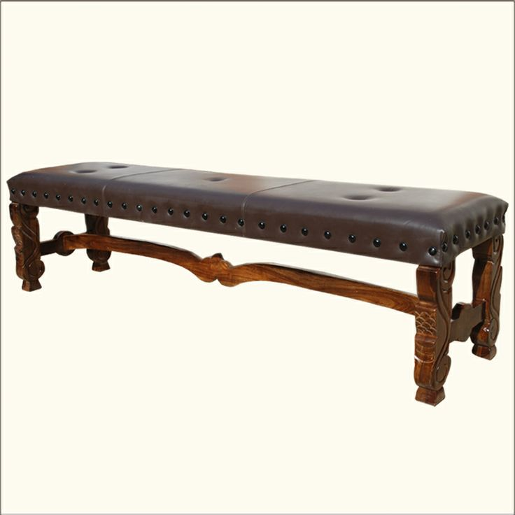 Our luxurious Camelot Leather Bench features a soft hand tacked seat and legs with ornate carved details. The seat is built with mango wood, an eco-friendly tropical hardwood which is grown as a sustainable crop. The center stretcher is slightly curved creating a graceful design element.: Tropical Hardwood, Mango Wood, Solid Hardwood, Hardwood Hands