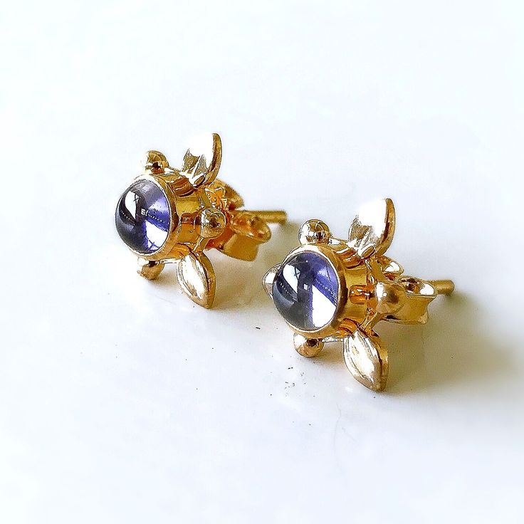 Iolite Khila Earrings in silver/oxidized silver/gold plated silver