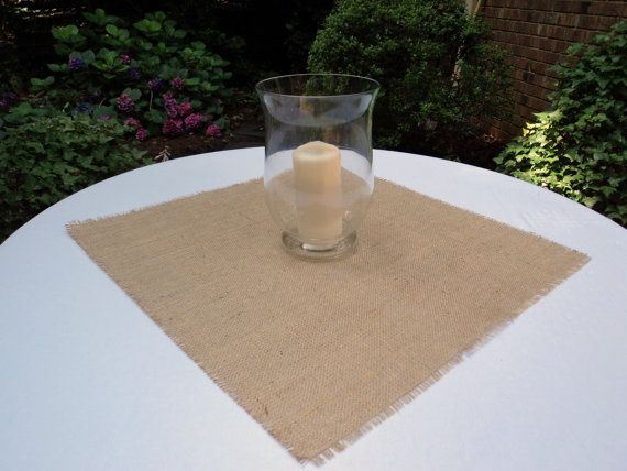 Select your size Burlap Squares Natural or Ivory Burlap Table Topper on Etsy, $3.50