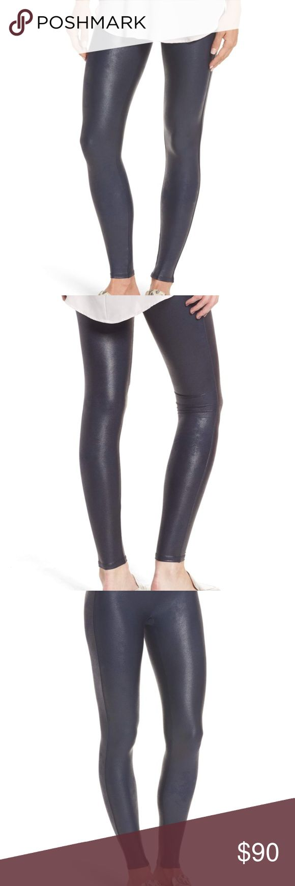 [Spanx] Leather Leggings NWT Navy Faux Leather Leggings by Spanx 💙 Size Small and fits TTS 📏 Never been worn and were purchased from Anthropologie 🌸 SPANX Pants Leggings