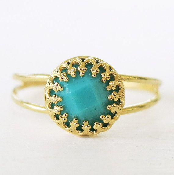 turquoise gold ring, turquoise ring, gold ring, band ring, dainty delicate ring, rings, cocktail ring, bridesmaid gift, wedding jewelry