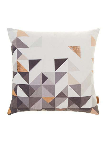 Paulista copper geometric, velvet backed cushion - house of fraser