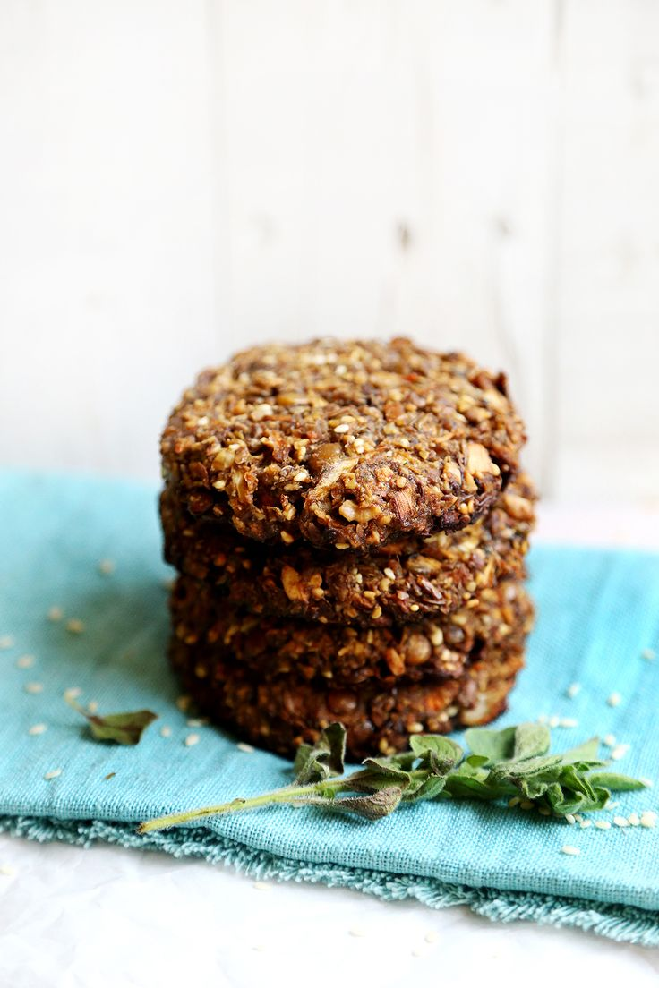Lentil, Nuts and Portabella Patties Marinated with Herbs and Spices - Breads and Pastry, Recipes - Divine Healthy Food