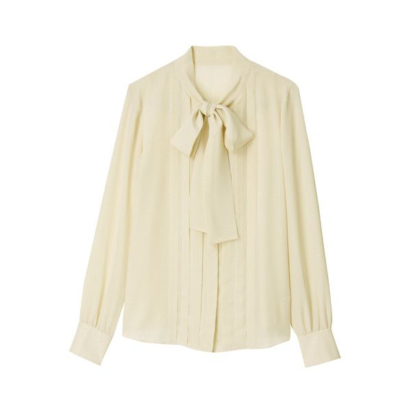 MACKINTOSH PHILOSOPHY シルクデシン ボウタイブラウス ($135) ❤ liked on Polyvore featuring tops, blouses, shirts, women, beige top, beige shirt, beige blouse and shirt blouse