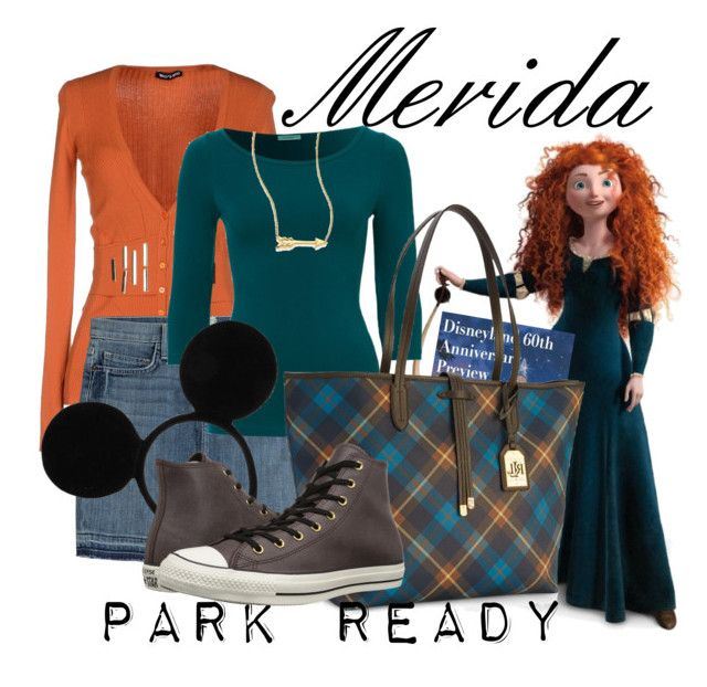 """Merida: Park Ready"" by laniocracy on Polyvore featuring Current/Elliott, Lauren Ralph Lauren, Disney, Converse, Roberto Coin and disneyland"