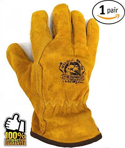Work Leather Gloves  for Men, Working, Wood Cutting, Mechanic, Gardening, Driving, Welding  Heavy Duty Gloves to Protect Hands from Scratches, Injuries  Leather Working Gloves  Winter Work Gloves