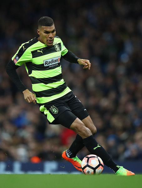 Collin Quaner of Huddersfield Town in action during the The Emirates FA Cup Fifth Round replay match between Manchester City  and Huddersfield Town at Etihad Stadium on March 1, 2017 in Manchester, England.