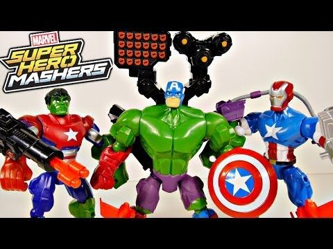 Marvel Superhero Mashers Captain America Iron Patriot and Hulk Toys Review - Disney Cars Toy Club - YouTube