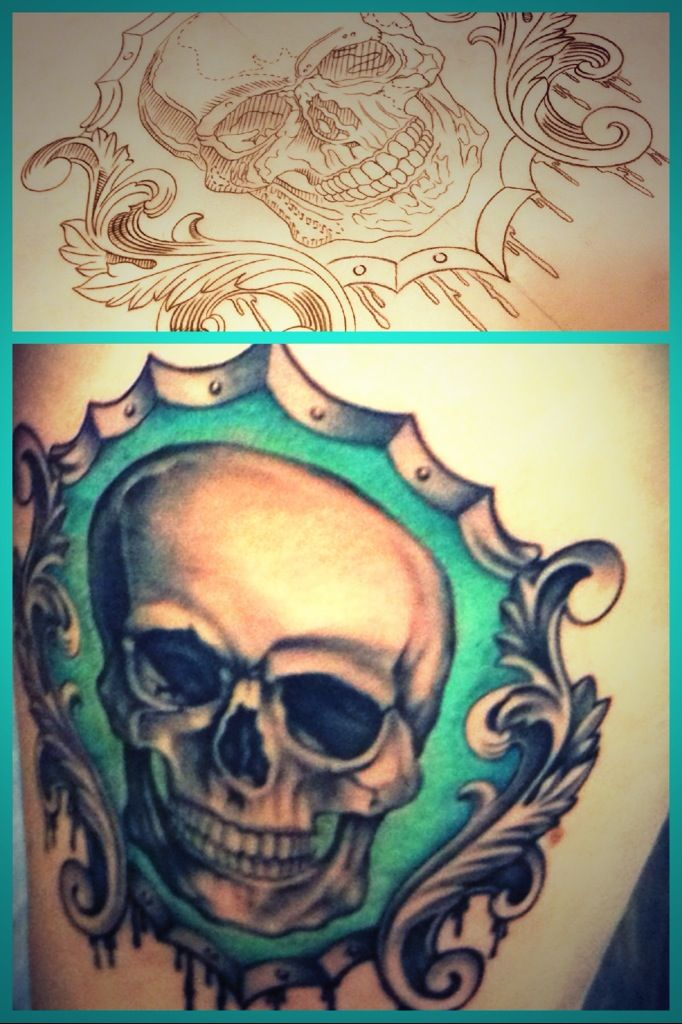 My skull with frame tattoo by Gerald Garcia