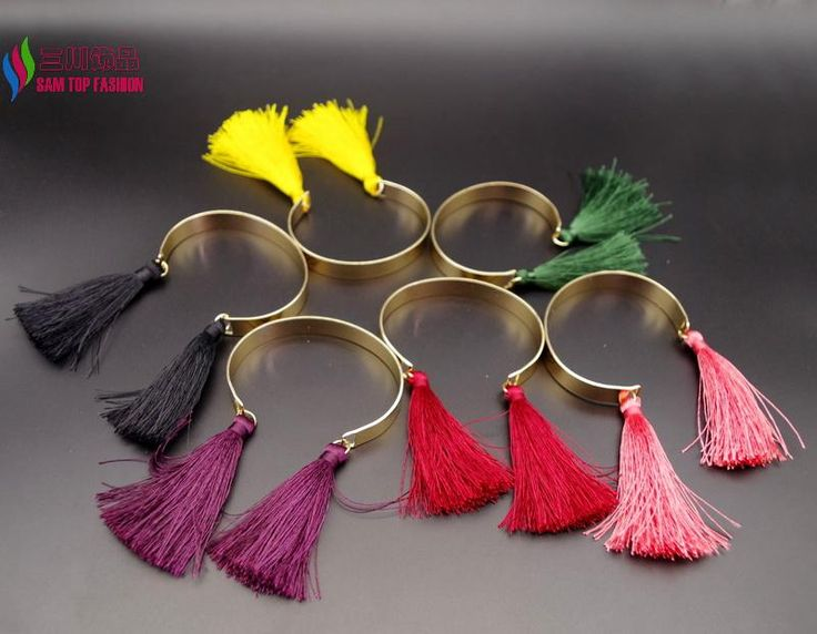 New Arrival wholesale Gold palted Cuff Bangles Fashion elegant Multi color Tassel Charm Bracelets for Women pulseiras de couro-in Bangles from Jewelry & Accessories on Aliexpress.com | Alibaba Group