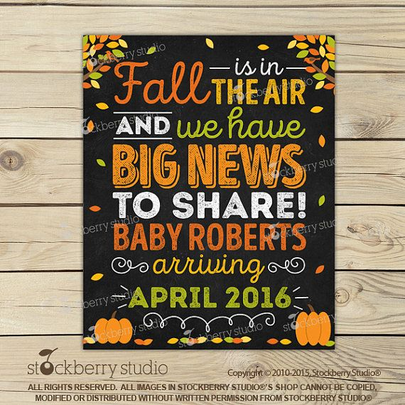 Fall Pregnancy Announcement Sign Printable - Fall Baby Announcement Chalkboard…