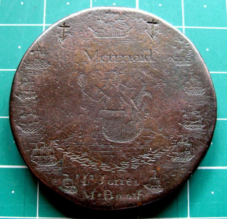Engraved Mermaid Ships 1797 George III Cartwheel Twopence Convict Love Token