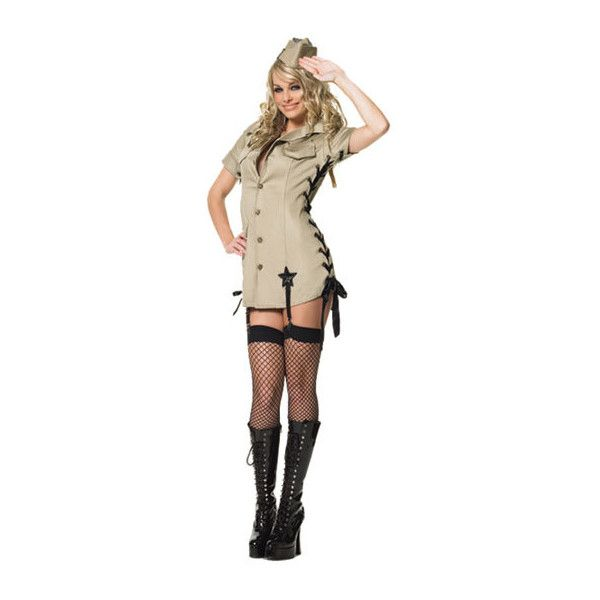 Pin Up Army Girl Costume < Halloween Costumes < Sexy Costumes <... ($25) ❤ liked on Polyvore featuring costumes, halloween, halloween costumes, sexy halloween costumes, pinup halloween costume, army halloween costumes, army costumes and sexy army costume