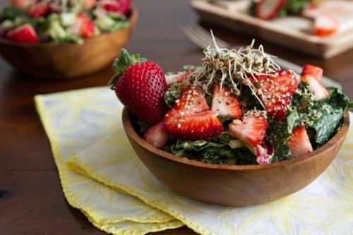 dinosaur kale, lemon juice, olive oil, avocado, strawberries, hemp seeds, homemade sprouts, herbamare