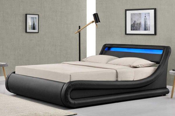 Madrid Black Led Lights Lift Up Ottoman Storage Designer Bed