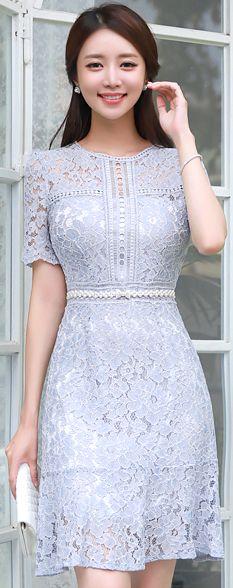 StyleOnme_Romantic Lace Mermaid Hem Dress #pastel #floral #lace #feminine #elegant #koreanfashion #kstyle #kfashion #dress #seoul #datelook #summertrend