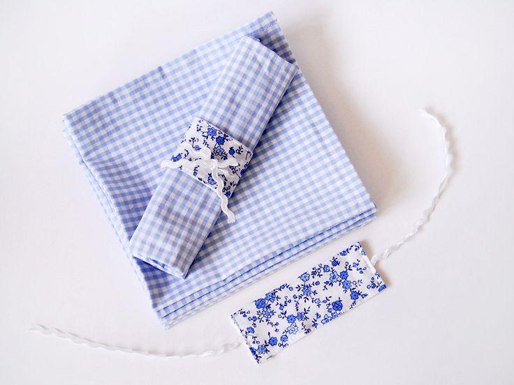Blue plaid napkins, flower napkin rings - Mavi kareli peçete seti